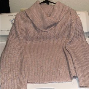 Express cotton candy sparkly cowl neck sweater